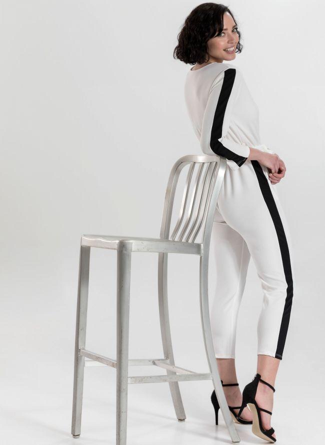 Ολόσωμη φόρμα με ρίγα - Λευκό/Μαύρο