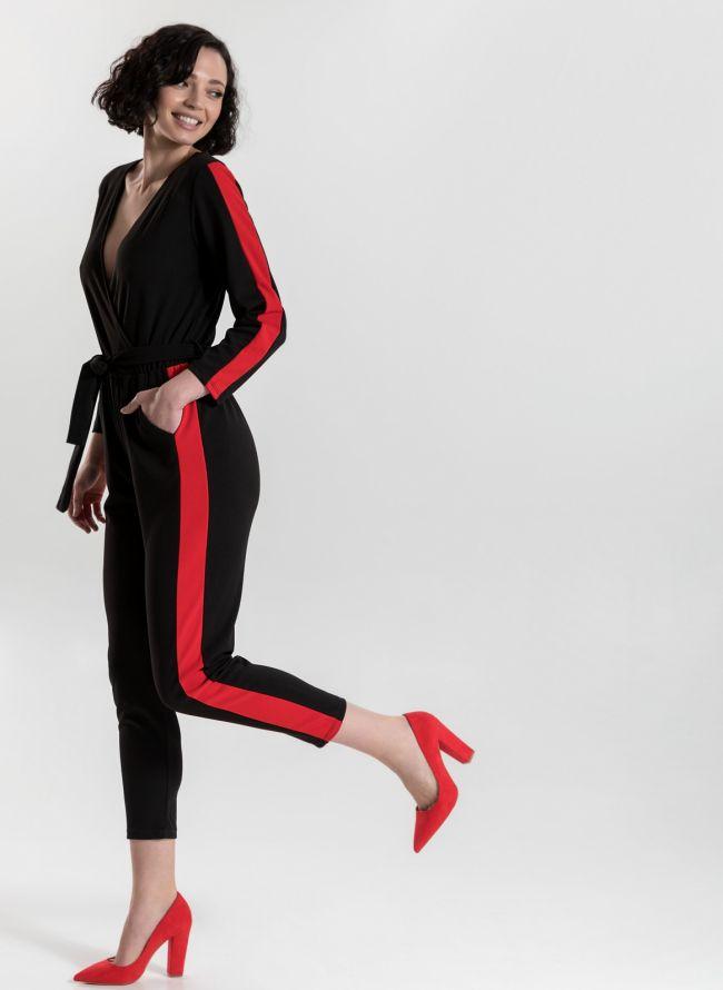 Ολόσωμη φόρμα με ρίγα - Μαύρο/Κόκκινο