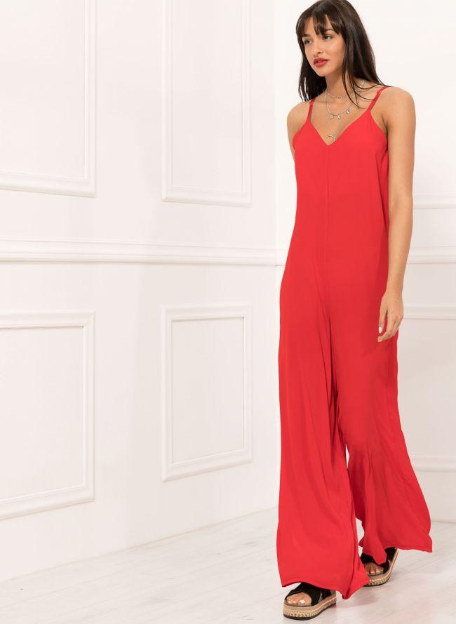 Ολόσωμη φόρμα σε άνετη γραμμή - Κόκκινο