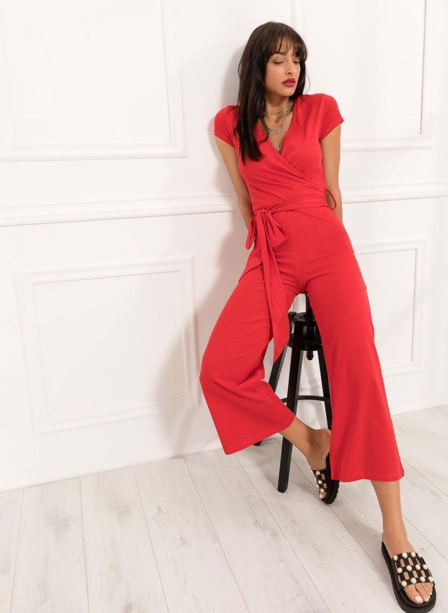 Ολόσωμη cropped κρουαζέ φόρμα με ζωνάκι - Κόκκινο