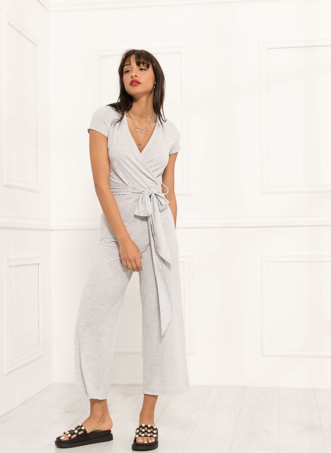 Ολόσωμη cropped κρουαζέ φόρμα με ζωνάκι - Γκρί