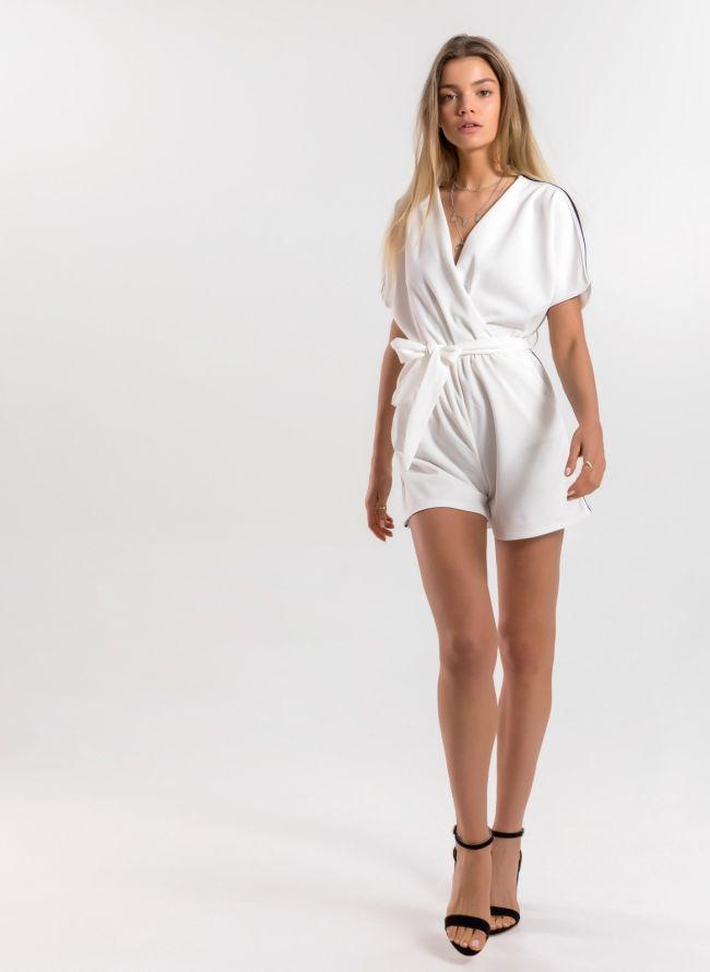 Ολόσωμη κρουαζέ φόρμα σορτς με ρίγα στο πλάι - Λευκό