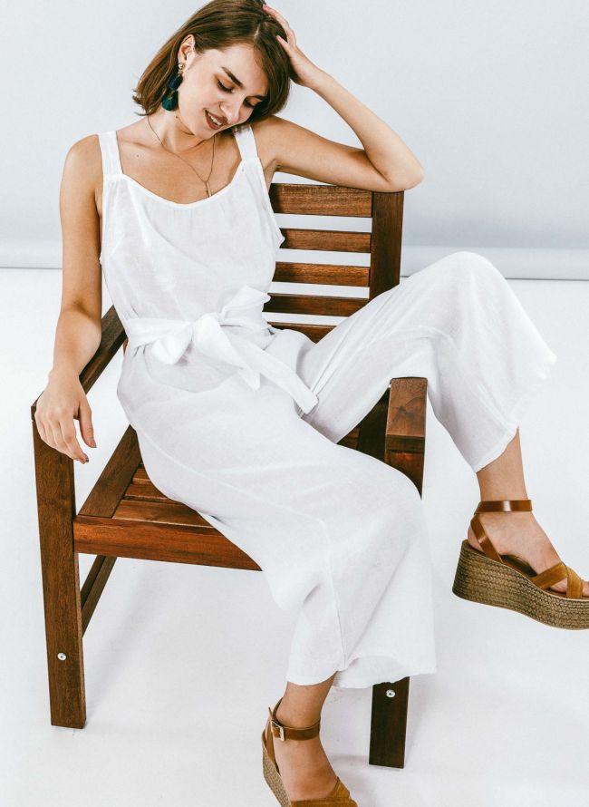 Ολόσωμη λινή φόρμα με ζωνάκι - Λευκό