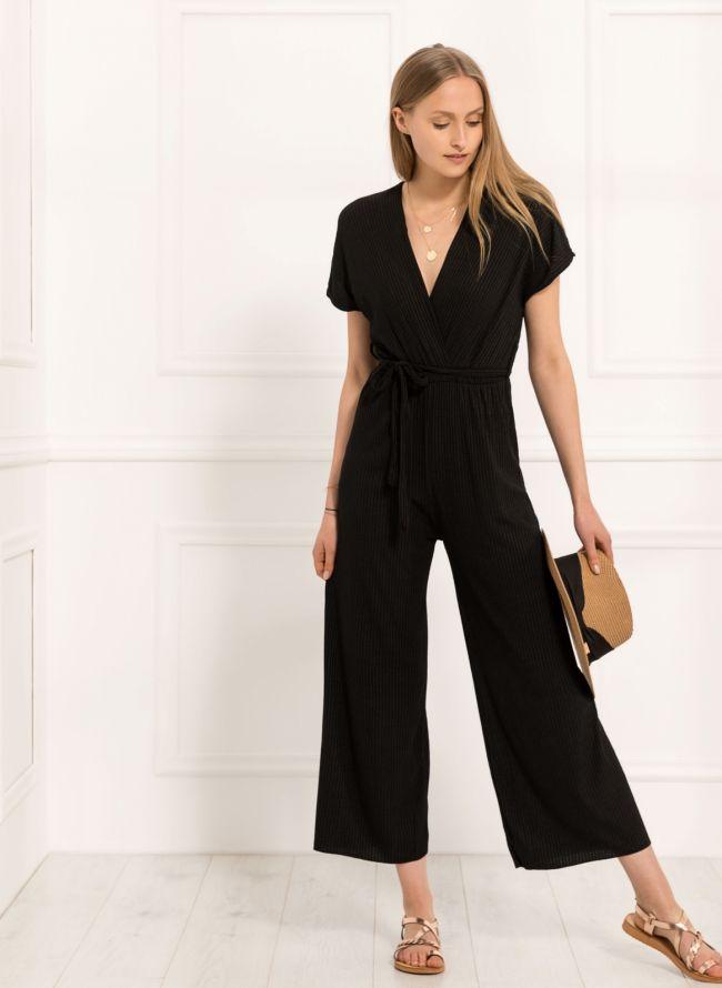 Ολόσωμη ριπ κρουαζέ φόρμα με ζωνάκι - Μαύρο