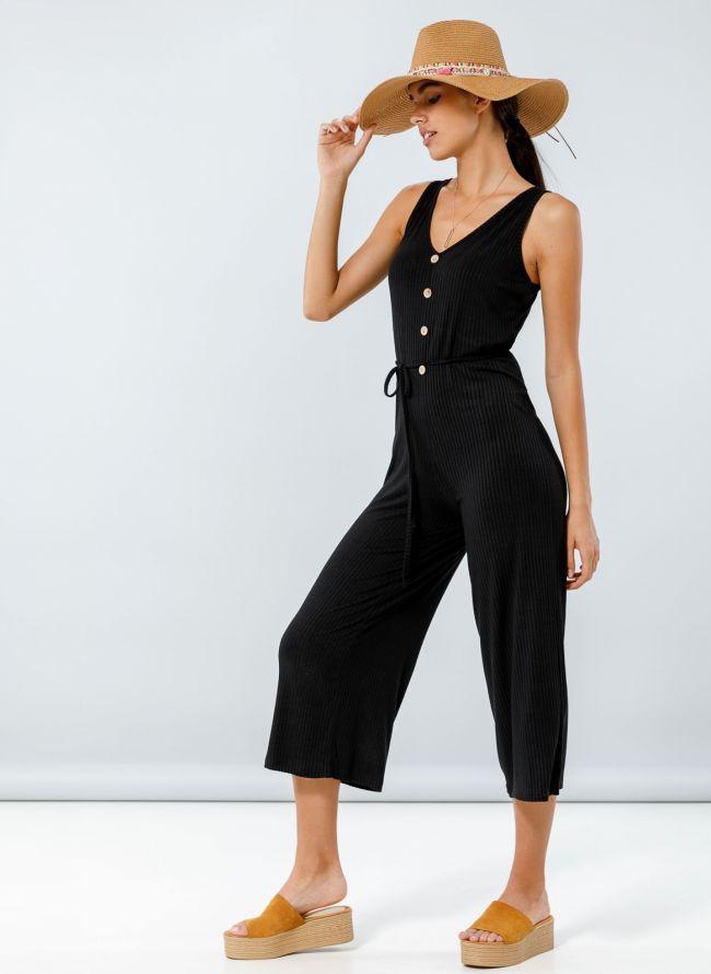 Ολόσωμη zip culotte με κουμπιά - Μαύρο