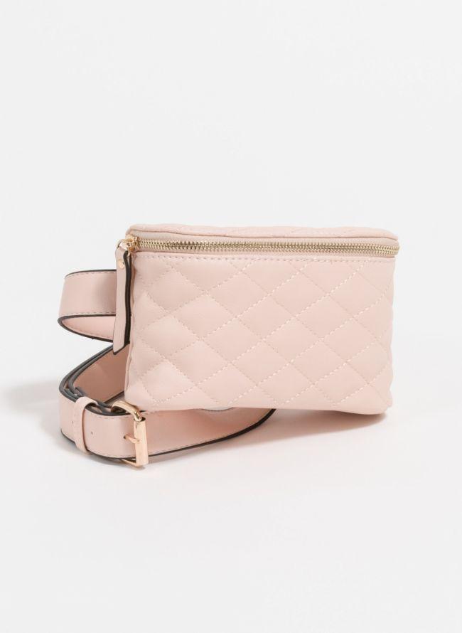 Ορθογώνιο καπιτονέ τσαντάκι μέσης - Ροζ