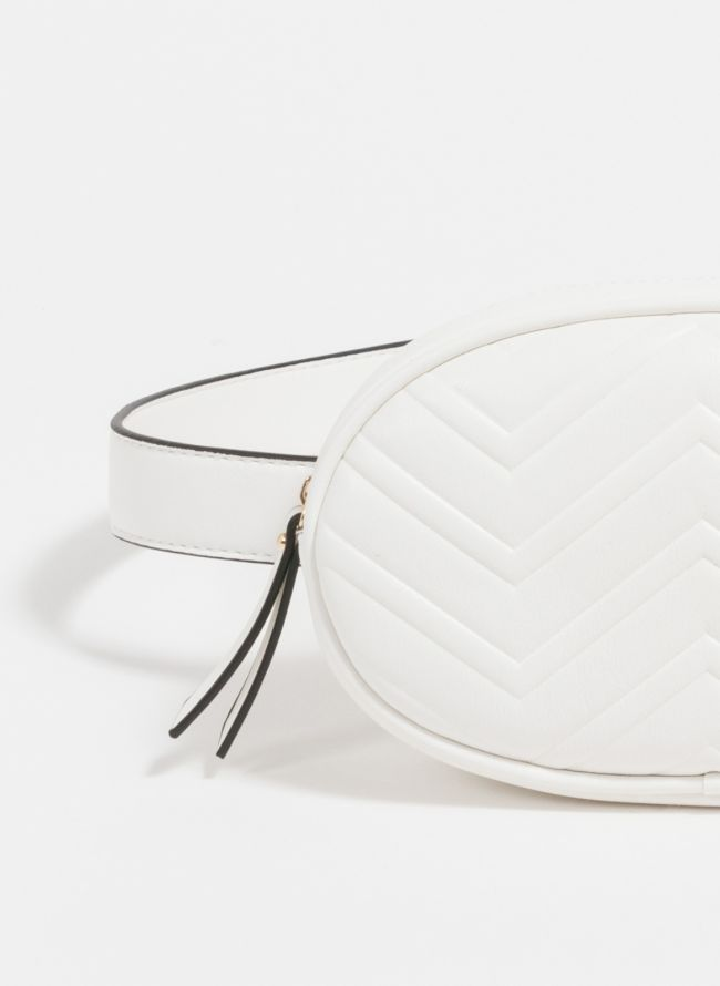Οβάλ τσαντάκι μέσης με ανάγλυφο σχέδιο - Λευκό