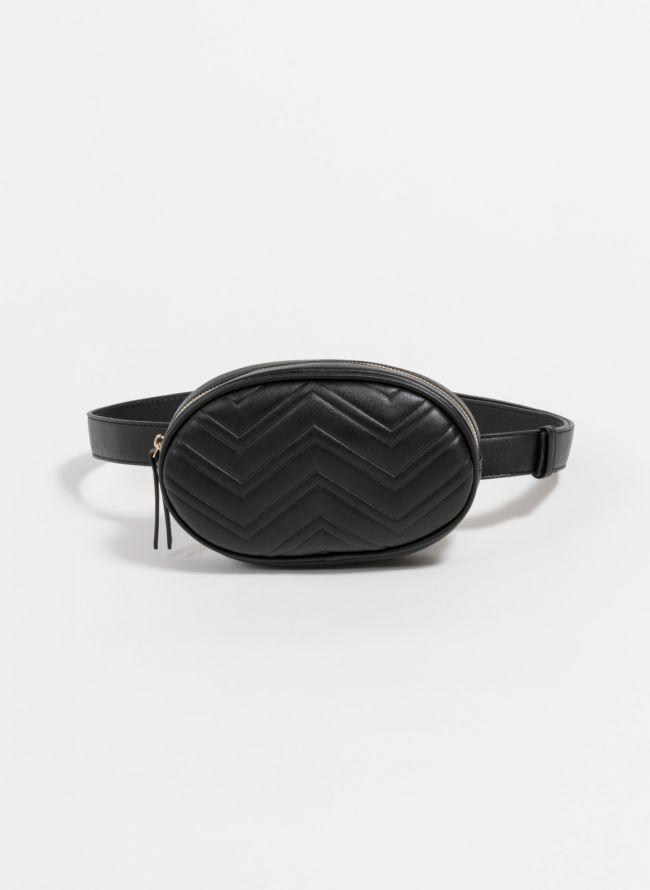 Οβάλ τσαντάκι μέσης με ανάγλυφο σχέδιο - Μαύρο
