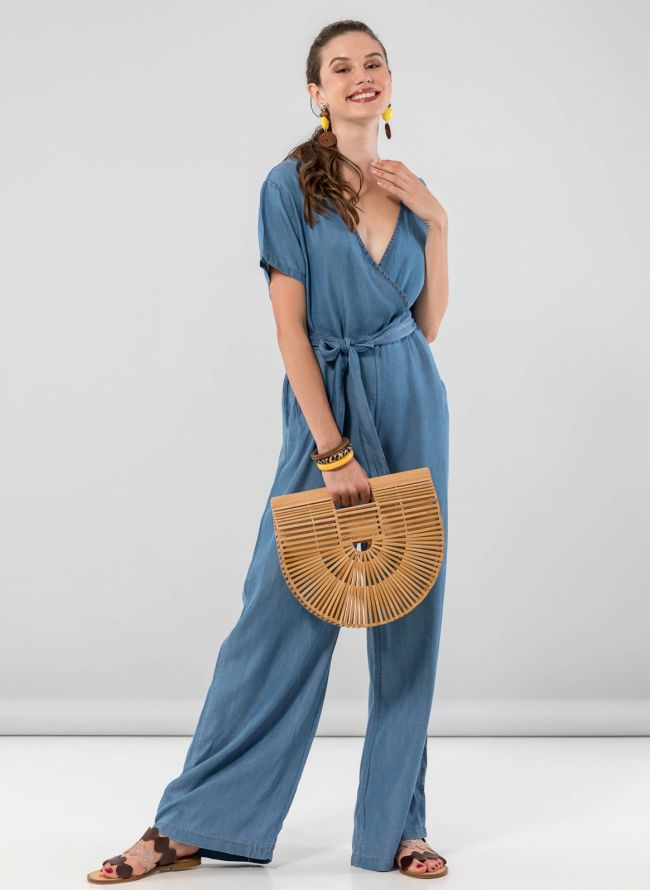 Overall κρουαζέ με άνοιγμα στην πλάτη - Μπλε jean