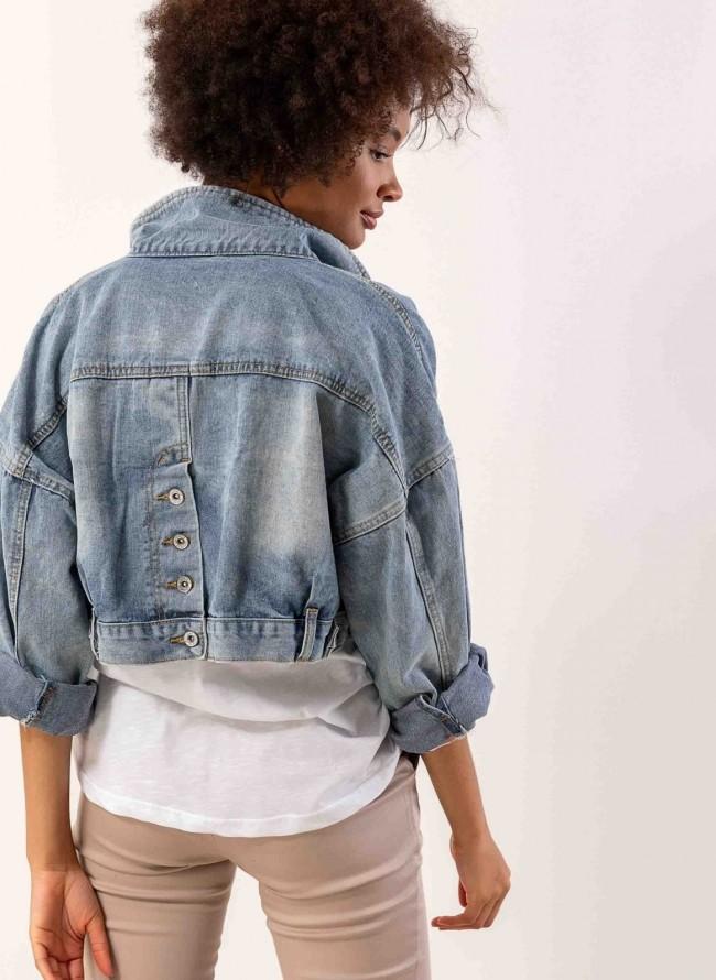 072297b55b71 Oversize denim jacket με λοξές τσέπες - Μπλε jean