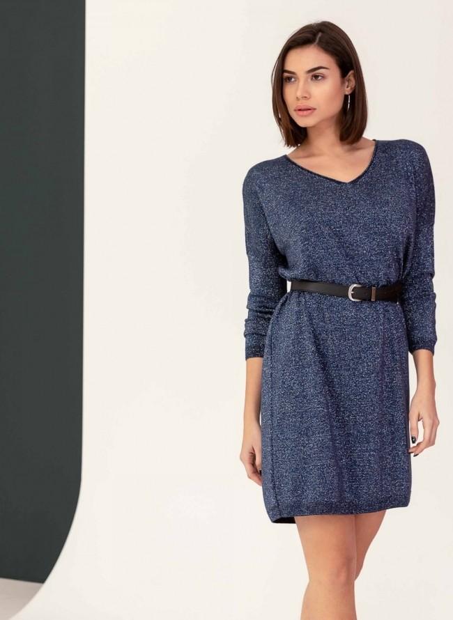 Oversize φόρεμα από μεταλλόνημα - Μπλε σκούρο ed401837947