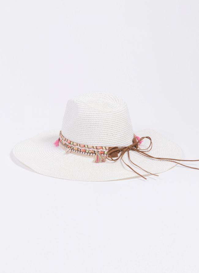 Oversized boho καπέλο - Λευκό