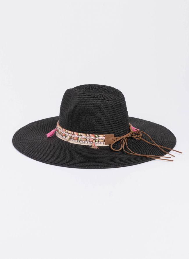 Oversized boho καπέλο - Μαύρο