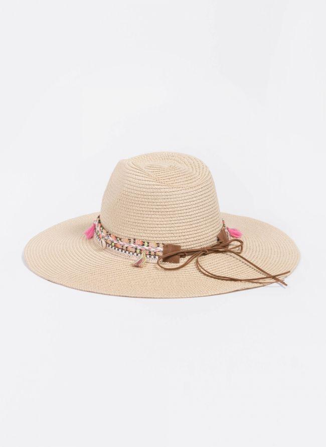 Oversized boho καπέλο - Μπεζ