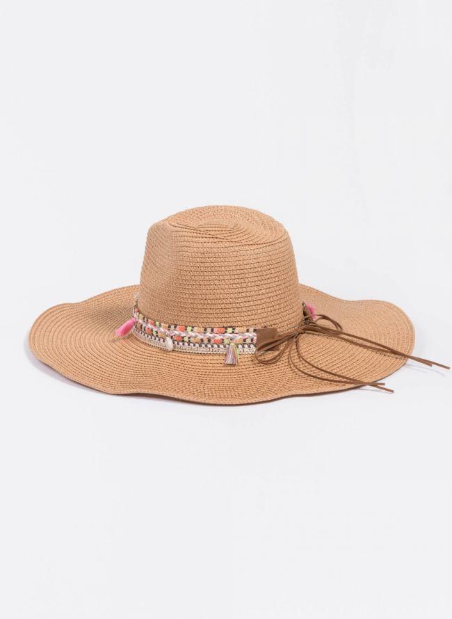 Oversized boho καπέλο - Κάμελ
