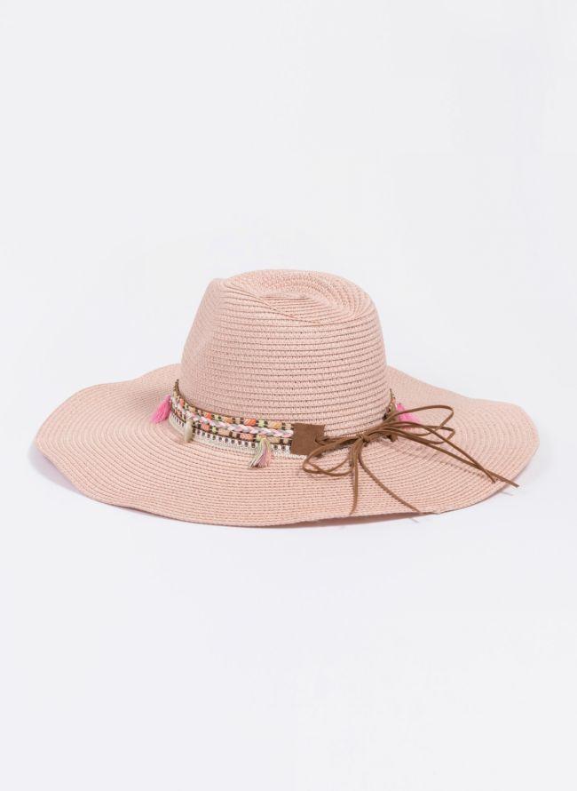 Oversized boho καπέλο - Ροζ