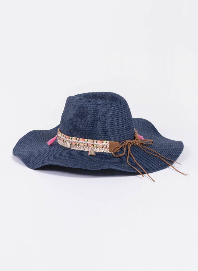Oversized boho καπέλο - Μπλε σκούρο