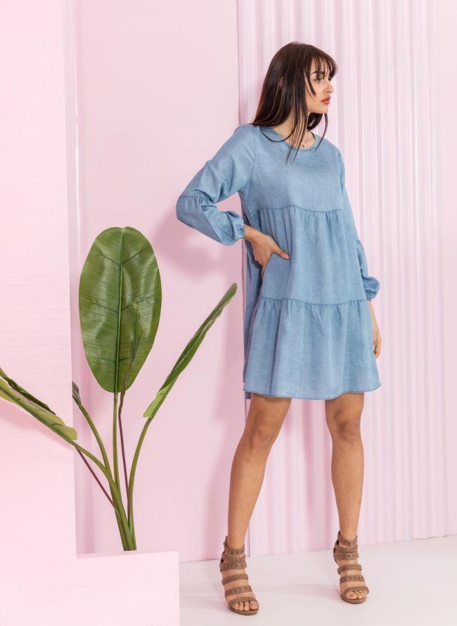 Oversized φόρεμα με μακρύ μανίκι - Γαλάζιο