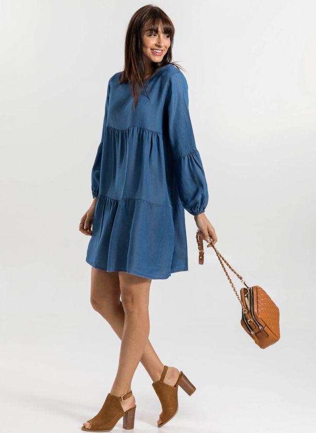 Oversized φόρεμα με μακρύ μανίκι - Μπλε jean