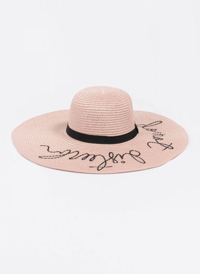 Oversized ψάθινο καπέλο με λογότυπο - Ροζ