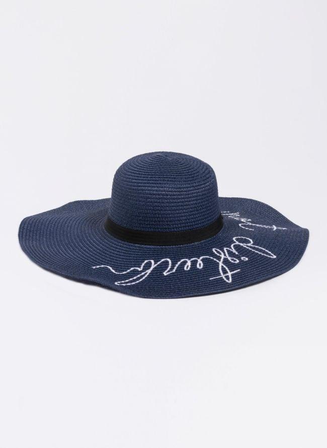 Oversized ψάθινο καπέλο με λογότυπο - Μπλε σκούρο