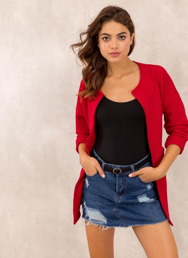 Oversized σακάκι χωρίς κουμπιά - Κόκκινο