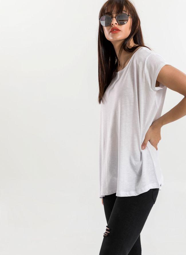 Oversized top με ανοιχτή λαιμόκοψη - Λευκό