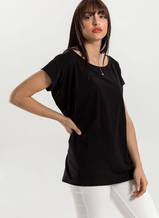 Oversized top με ανοιχτή λαιμόκοψη - Μαύρο