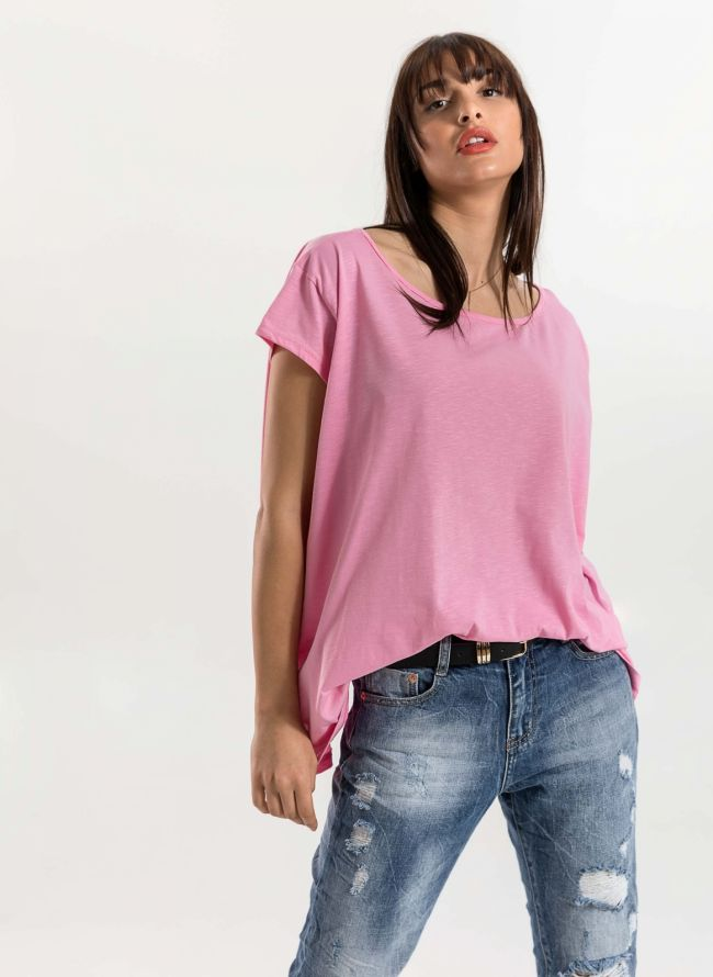 Oversized top με ανοιχτή λαιμόκοψη - Ροζ