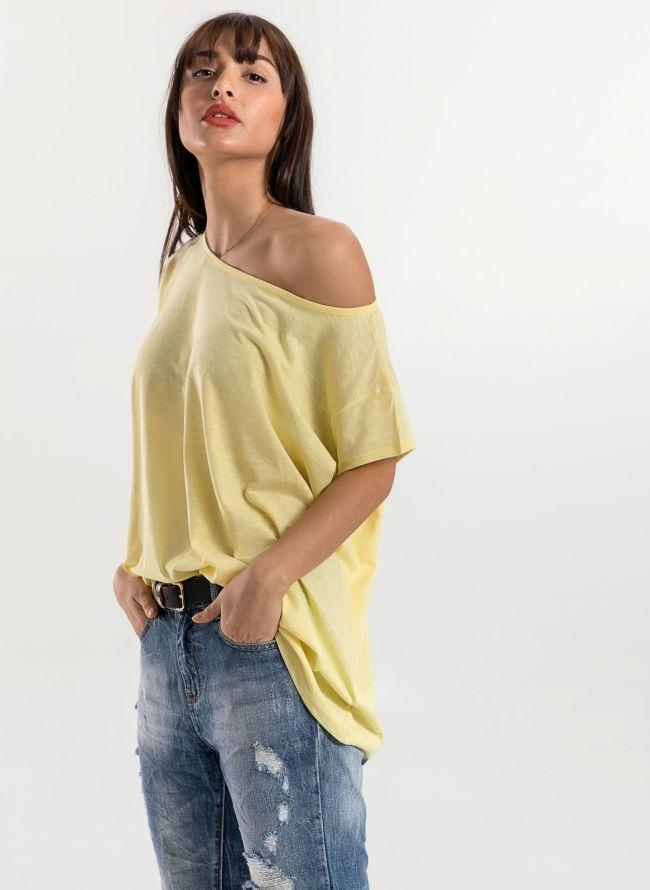 Oversized top με ανοιχτή λαιμόκοψη - Κίτρινο