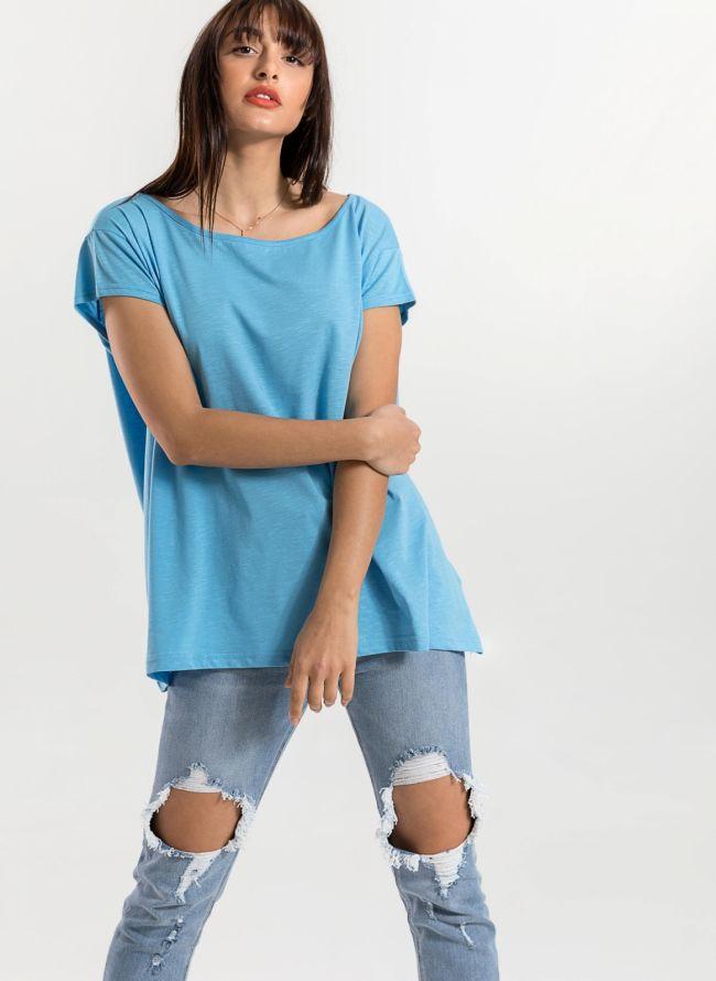 Oversized top με ανοιχτή λαιμόκοψη - Γαλάζιο