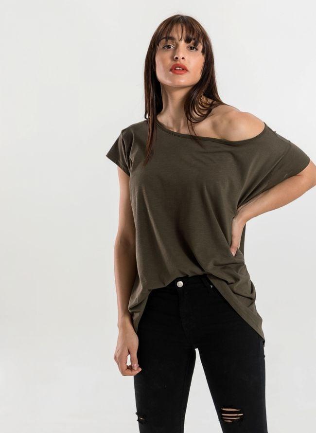 Oversized top με ανοιχτή λαιμόκοψη - Χακί