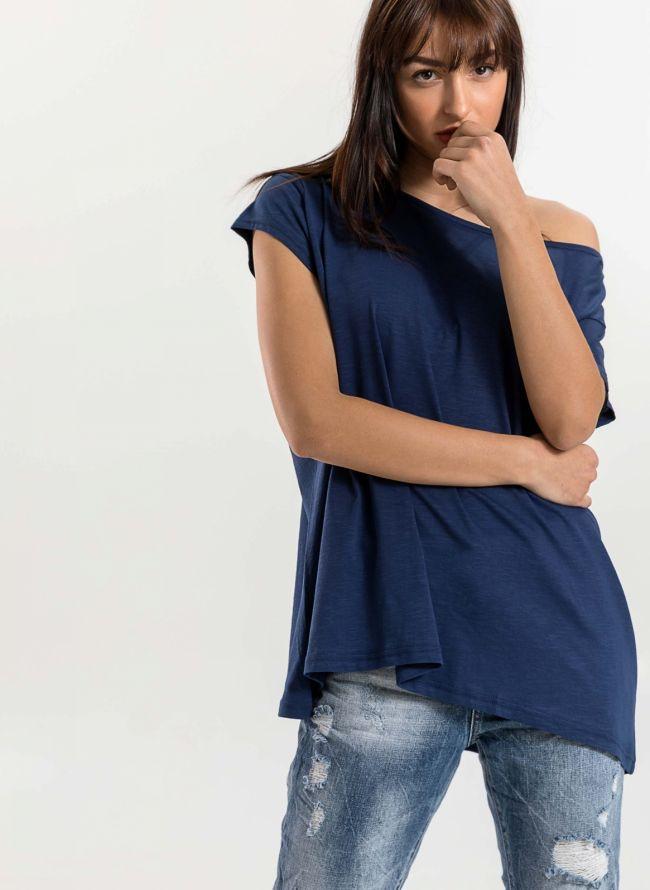 Oversized top με ανοιχτή λαιμόκοψη - Μπλε