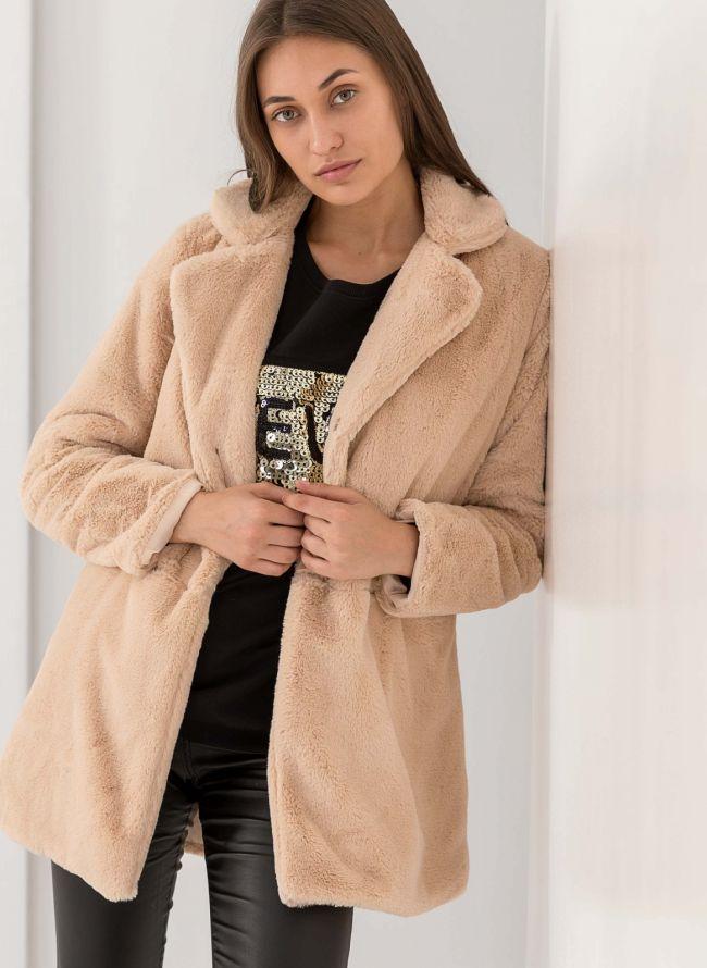 Παλτό από οικολογική γούνα - Μπεζ dcec47f5700