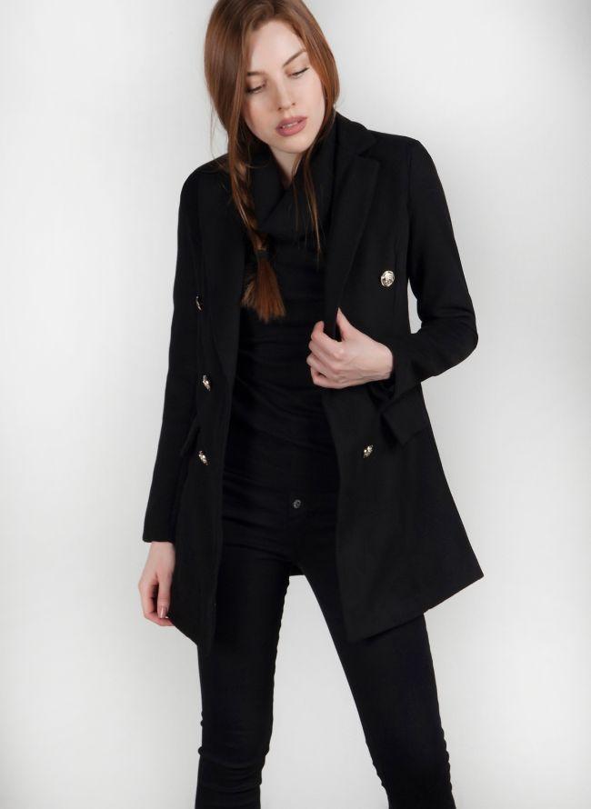 Παλτό με μεταλλικά κουμπιά - Μαύρο