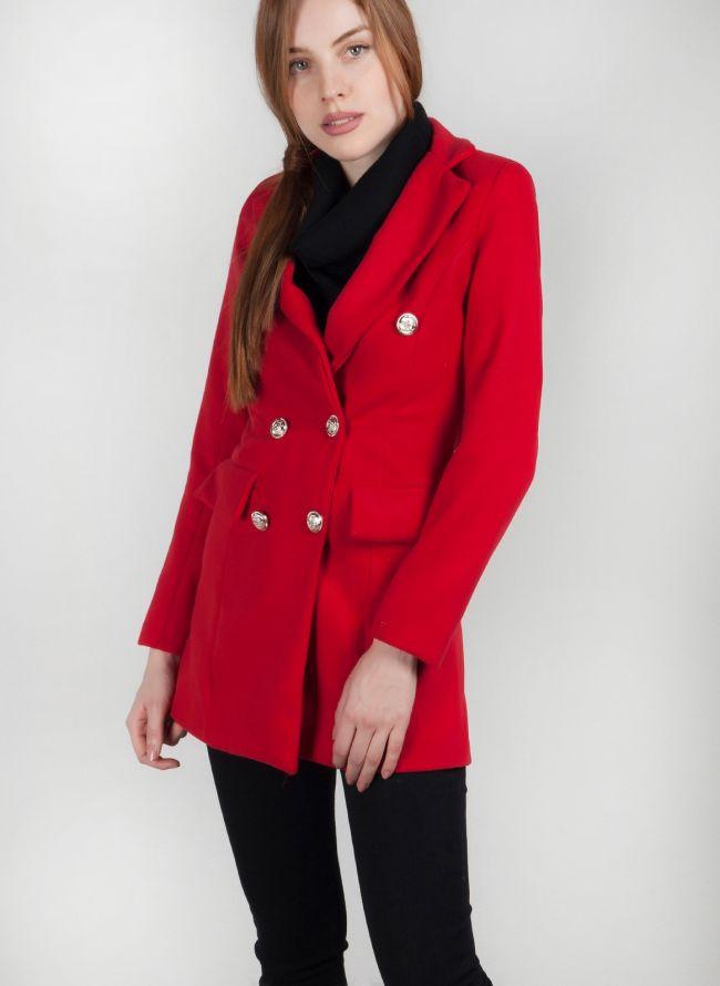 Παλτό με μεταλλικά κουμπιά - Κόκκινο