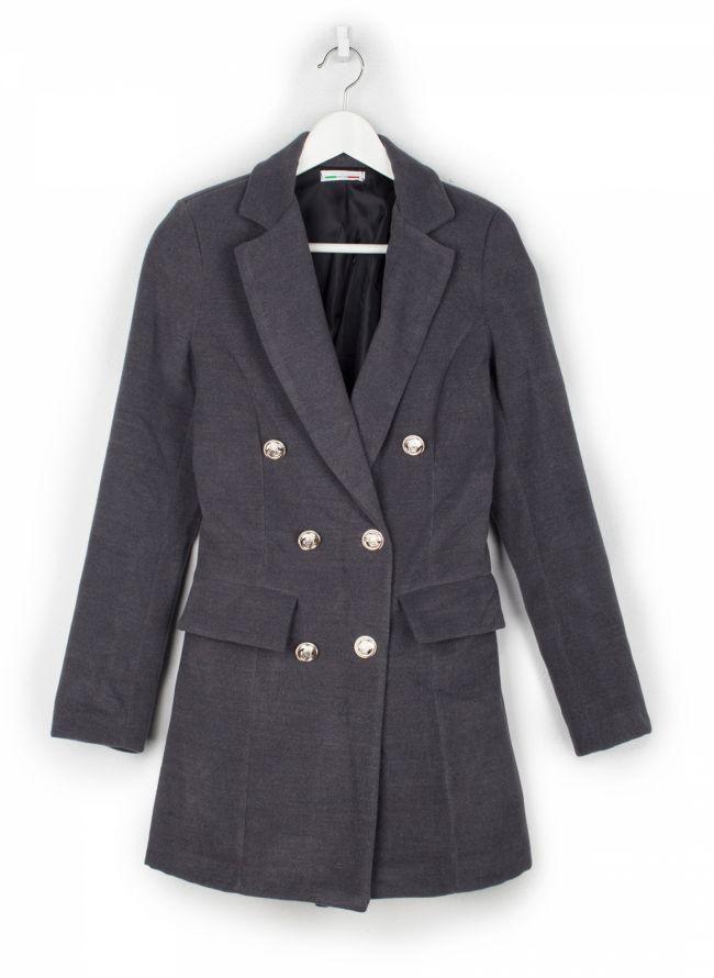 Παλτό με μεταλλικά κουμπιά - Ανθρακί