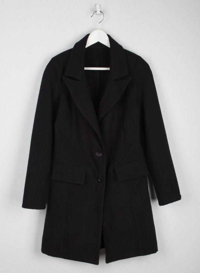 Παλτό μεσάτο με κουμπιά - Μαύρο