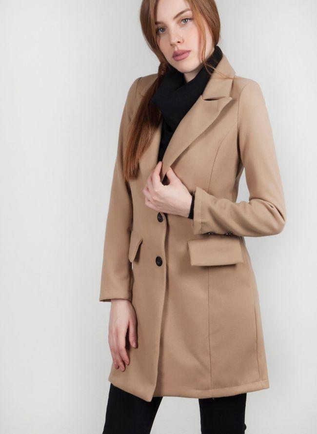 Παλτό μεσάτο με κουμπιά - Κάμελ