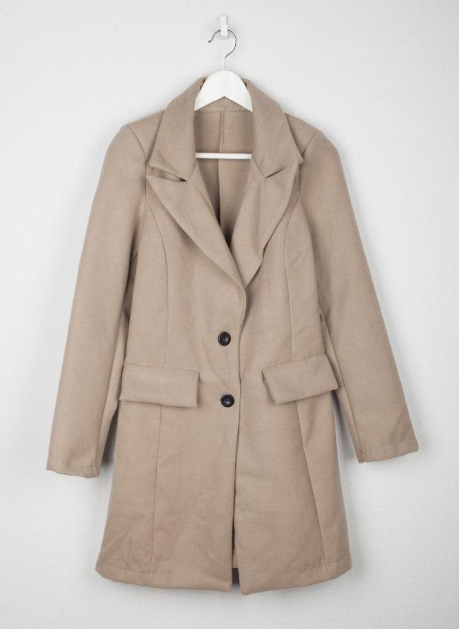 Παλτό μεσάτο με κουμπιά - Μπεζ