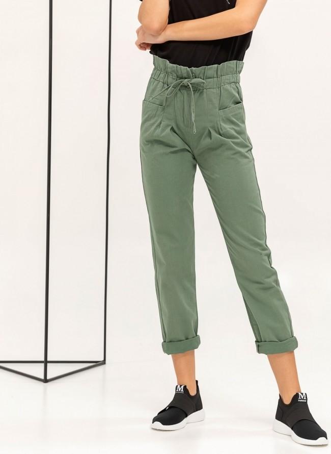Παντελόνι με πιέτες και frilled σχέδιο στη μέση - Χακί 53bafd6a9f0