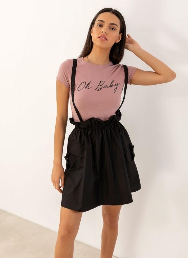 54bd0230e9a Mini jean φούστα με κουμπιά - Μαύρο - TheFashionProject