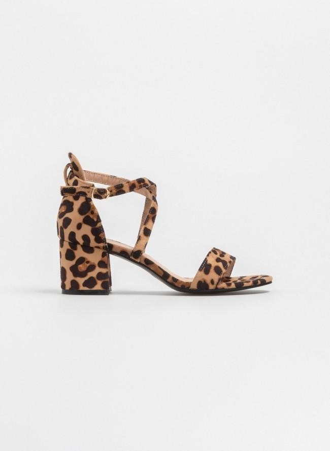 Πέδιλα suede με πρακτικό τετράγωνο τακούνι - Leopard - TheFashionProject fc1bf4e47fa