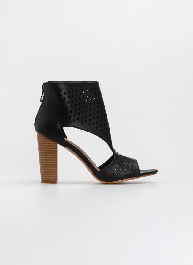 913ff4854da Peep toe ankle boots με άνοιγμα στο πλάι - Μαύρο