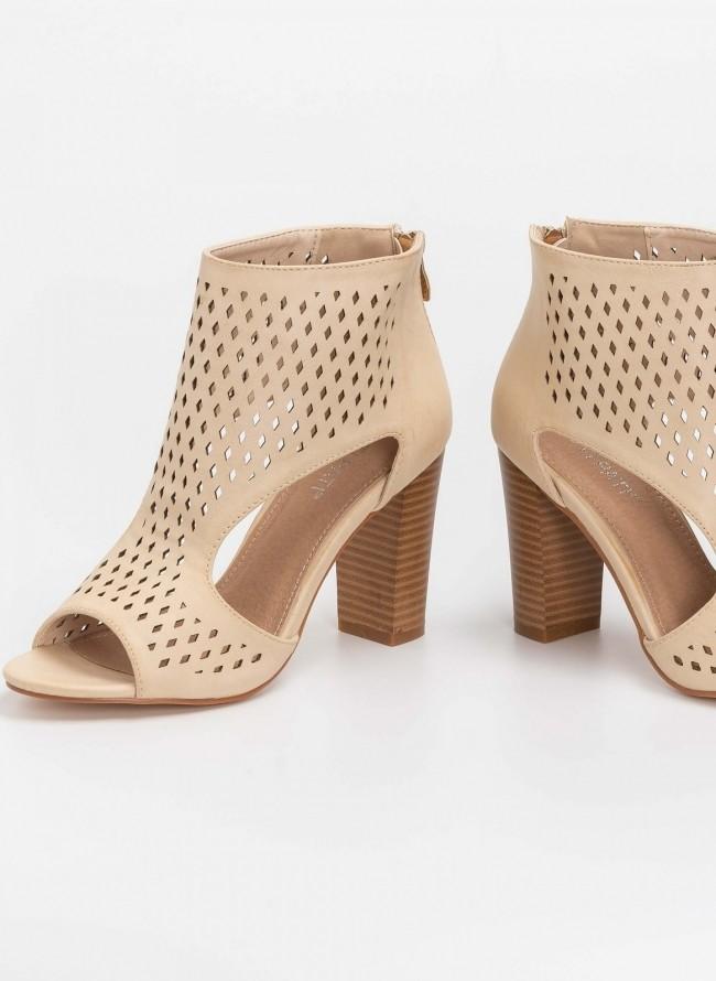 7f8a8eac687 Peep toe ankle boots με άνοιγμα στο πλάι - Μπεζ