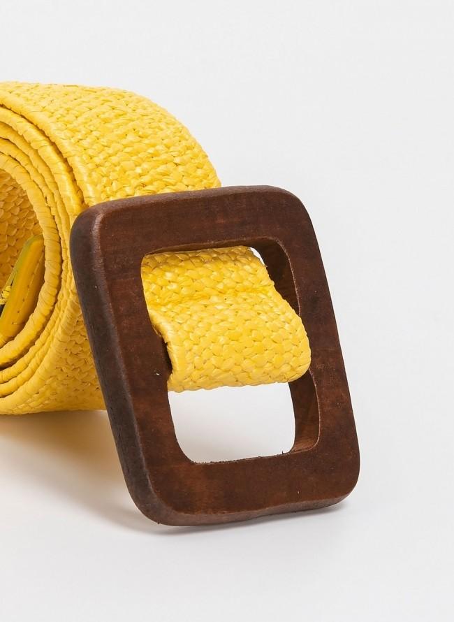95217caed2 Πλεκτή ελαστική ζώνη με ξύλινη αγκράφα - Κίτρινο