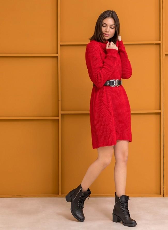 Πλεκτό φόρεμα με μεγάλο ζιβάγκο - Κόκκινο f1849707661