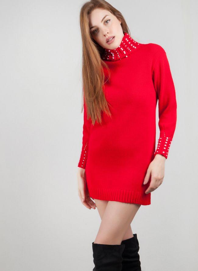Πλεκτό φόρεμα με πέρλες - Κόκκινο