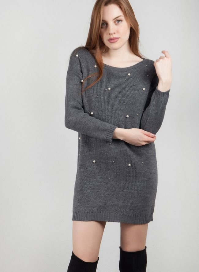 Πλεκτό φόρεμα με πέρλες - Γκρι