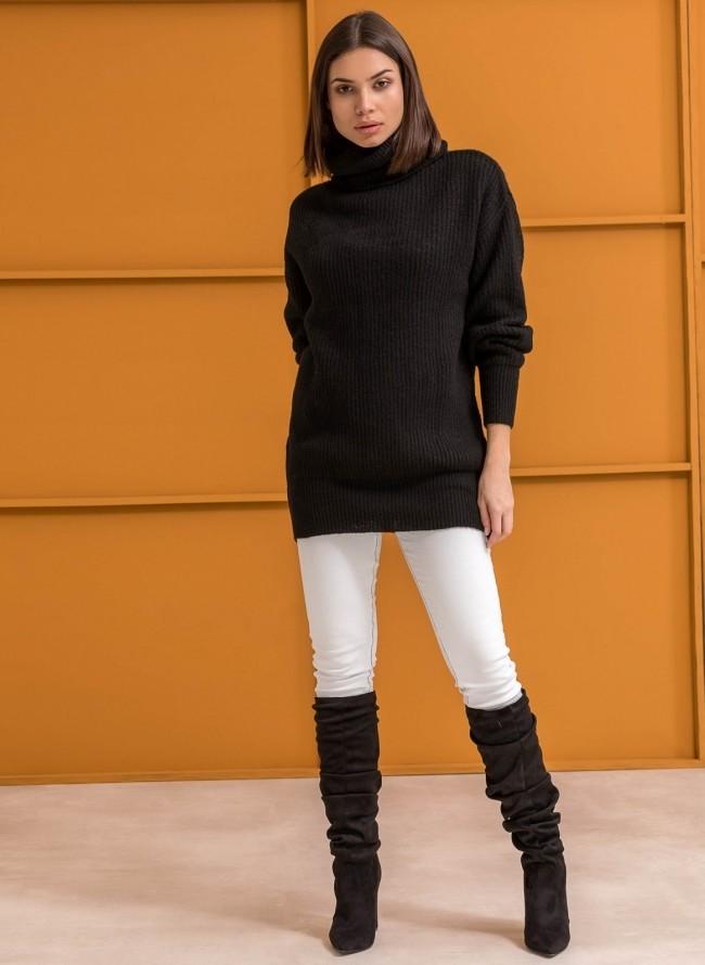 2ef900ffa55a Πλεκτό πουλόβερ με ζιβάγκο - Μαύρο